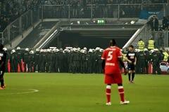 Fortuna Düsseldorf v Hertha BACCALAUREUS IN DE EXACTE WETENSCHAPPEN Berlijn. Stock Afbeelding