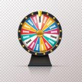 Fortuna da roda Roleta afortunada do jogo do prêmio do casino, círculo da loteria do dinheiro do jackpot da vitória Roda 3d do ilustração do vetor