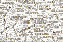 A fortuna, ilustrações da palavra positiva da emoção nubla-se Palavras, linha, criativo & desarrumado ilustração royalty free