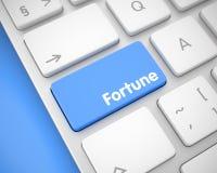 Fortuna - inscripción en el botón azul del teclado 3d Fotografía de archivo