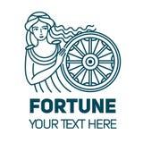 Fortuna roman gudinna av rikedompengar och den linjära illustrationen för förmögenhet Härlig och ung kvinna vektor illustrationer