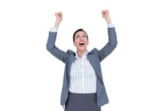 Fortunate businesswoman celebrating a success Royalty Free Stock Photo