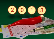 Fortunately 2013. Graphic image in 3D with red horn, and coupons for money game Royalty Free Stock Image