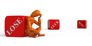 Fortune. Orange mannequin with red dice Stock Photos