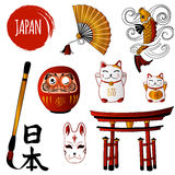 Fortune Cat and different japanese objects Royalty Free Stock Images