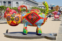 Fortune cat. SAN FRANCISCO CA USA APRIL 14 2015: Fortune cat by Hung Yi was officially unveiled in San Francisco Civic Center. It features 19 animals painted in stock photo