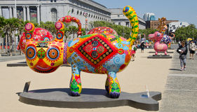 Fortune cat. SAN FRANCISCO CA USA APRIL 14 2015: Fortune cat by Hung Yi was officially unveiled in San Francisco Civic Center. It features 19 animals painted in royalty free stock photography