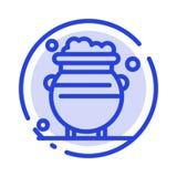 Fortune, or, chance, métal, ligne pointillée bleue ligne icône d'argent illustration libre de droits