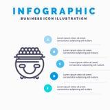 Fortune, or, chance, Patrick, ligne icône de pot avec le fond d'infographics de présentation de 5 étapes illustration de vecteur