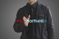 Fortune concept. Businessman misfortune the unknown into fortune Stock Photos