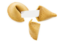 Fortune cookie. Two fortune cookies with blank note isolated over white stock photography