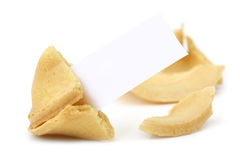 Fortune Cookie. Broken open with blank tag ready for your message.  Isolated on white Stock Image
