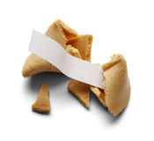 Fortune Cookie. Broken Fortune Cookie With Blank Fortune for Copy Space on a White Background royalty free stock photos