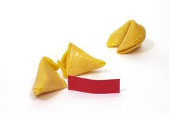 Fortune Cookie 5 with Red Fortune. Fortune cookies, one open with a blank red fortune Stock Photo
