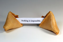 Fortune Cookie. With the expression: nothing is impossible Stock Images