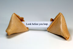 Fortune Cookie. With the expression: look before you leap Stock Photos