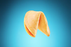 Fortune cookie on blue background Stock Image