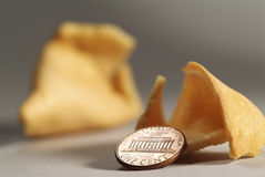 Fortune cookie & Coin Stock Photography