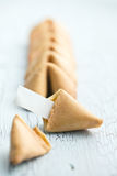 Fortune cookie on the cracked table Stock Photography