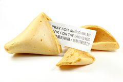 Fortune cookie. Isolated on white background Stock Photos