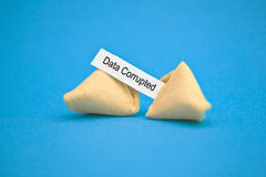 Fortune cookie with message. Studio image of fortune cookie with \data corrupted\ message Royalty Free Stock Images
