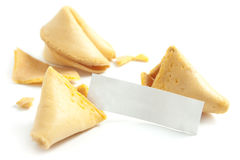 Fortune Cookie and Message on White Royalty Free Stock Photos