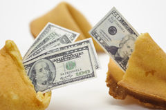 Fortune cookie with money Stock Photos