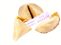 Fortune cookies. Isolated fortune cookies with lucky numbers royalty free stock images