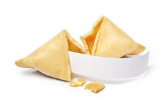 Fortune cookies. Broken fortune cookies with blank slip  on white background Royalty Free Stock Photos