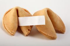 Fortune cookies. A couple of fortune cookies with a blanc white note Royalty Free Stock Image