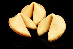 Fortune Cookies On Black Royalty Free Stock Photos
