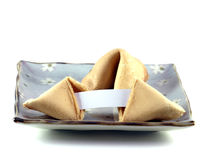 Fortune Cookies and blank lucky note Stock Photo