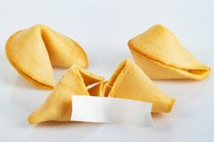 Fortune Cookie. S on bright background stock photos