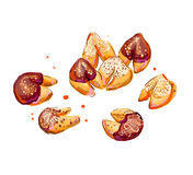 Fortune cookies illustration. Hand drawn illustration of fortune cookies Stock Image