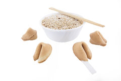 Fortune Cookies. Isolated fortune cookies with bowl full of rice Stock Photo