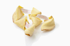 Fortune cookies with label on white background Stock Photos