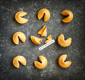 Fortune cookies, one cookie is cracked Stock Photo