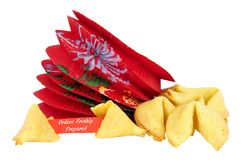 Fortune Cookies. With orders freshly prepared message isolated on a white background stock photo