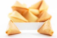 Fortune cookies with white blank paper, shallow depth of field. Chinese fortune cookies, on white background, with a white piece of paper for entering own text/ Royalty Free Stock Photography