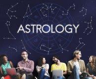 Fortune d'horoscope d'étoile d'astrologie indiquant le concept de zodiaque de destin image libre de droits