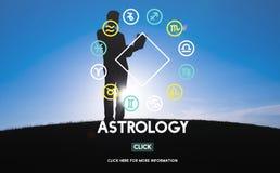 Fortune d'horoscope d'astronomie d'astrologie indiquant le concept de zodiaque images libres de droits
