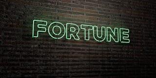 FORTUNE - enseigne au néon réaliste sur le fond de mur de briques - image courante gratuite de redevance rendue par 3D Image libre de droits