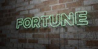 FORTUNE - Enseigne au néon rougeoyant sur le mur de maçonnerie - 3D a rendu l'illustration courante gratuite de redevance Photographie stock libre de droits