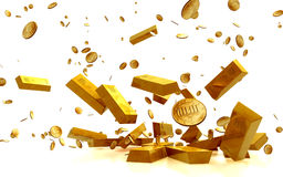 Fortune in  Golden Bars, golden Coins Stock Photography