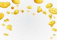 Fortune golden dollar coins flying reward background. Casino cas Stock Photos