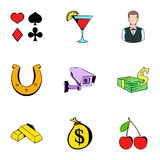 Fortune icons set, cartoon style. Fortune icons set. Cartoon illustration of 9 fortune vector icons for web Stock Photos