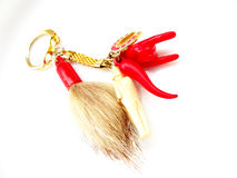 Fortune keyring. Red keyring with fortune symbols Stock Image