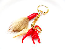 Fortune keyring. Red keyring with fortune symbols Royalty Free Stock Photo