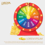 Fortune spinning wheel. Gambling concept, win jackpot in casino stock illustration