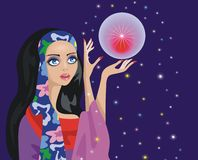 Fortune-teller. With a magic ball vector illustration